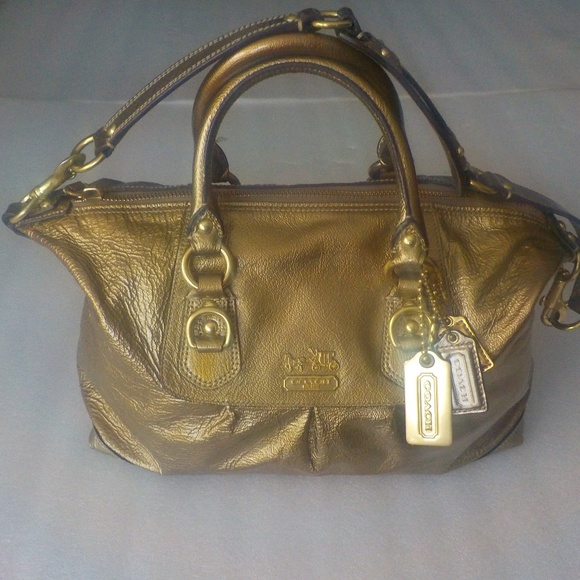 Coach Handbags - Coach Metallic Soft Leather Shoulder Bag/Handbag